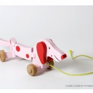 Wooden Toy-Pull Dog Pink