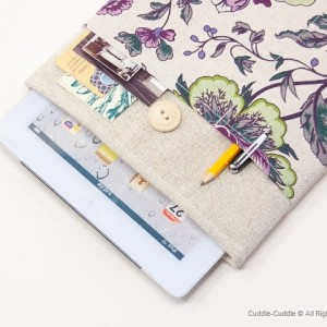 Linen iPad case-Flowers