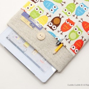 Linen iPad case-Owls1