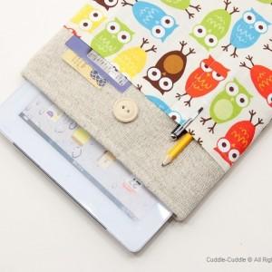 Linen iPad case-Owls1