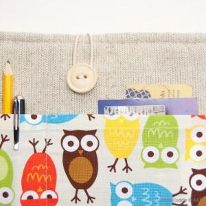 Linen iPad case-Owls2