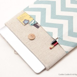 MacBook linen case-Blue ornament