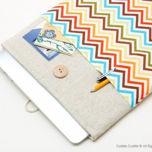 MacBook linen case-Colorful lines