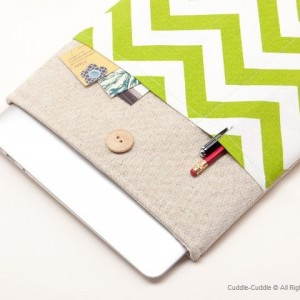 MacBook linen case-Green1