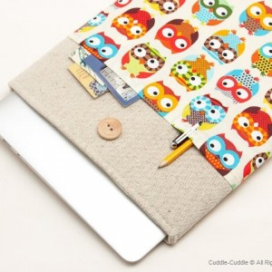 MacBook linen case-Owls