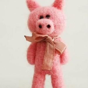 Piglets Felt brooch-Pink