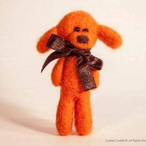 Puppy felt brooch-Orange2