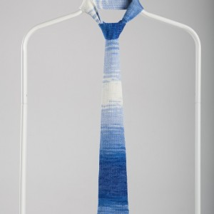 Luxury Knitted Tie-Blue&White