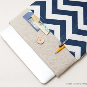 MacBook linen case-Dark blue