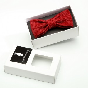 Knitted Bow Tie-Bordo